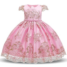 Kids Toddler Girls' Flower Sweet Floral Beaded Embroidered Short Sleeve Knee-length Dress Blushing Pink