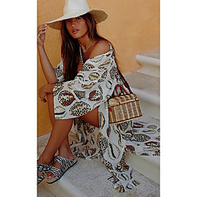 Women's 2020 Maxi Sheath Dress - Geometic Deep V Spring  Summer White One-Size