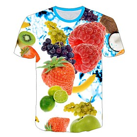 Men's 3D Graphic Print Slim T-shirt Daily Round Neck Rainbow / Short Sleeve