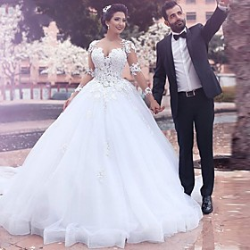 A-Line Wedding Dresses Jewel Neck Court Train Lace Long Sleeve Country Illusion Sleeve with 2020 / Bell Sleeve