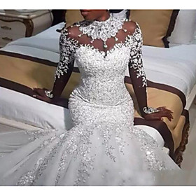 Mermaid / Trumpet Wedding Dresses Jewel Neck Sweep / Brush Train Lace Tulle Long Sleeve Casual Plus Size with Beading Appliques 2020