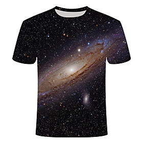 Men's 3D Graphic Print Slim T-shirt Daily Round Neck Black / Short Sleeve