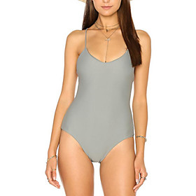 Women's Halter One-piece Swimsuit Solid Colored Swimwear Bathing Suits Gray