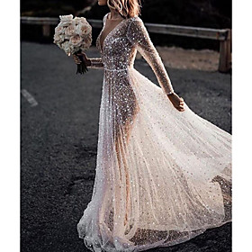 A-Line Wedding Dresses Bateau Neck Court Train Lace Tulle Polyester Long Sleeve Formal Boho Plus Size Illusion Sleeve with Lace Insert Appliques 2020