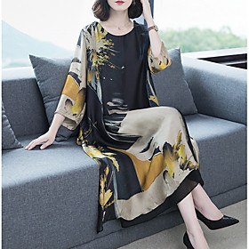 Women's Shift Dress Maxi long Dress - Long Sleeve Geometric Slim Black M L XL XXL 3XL 4XL