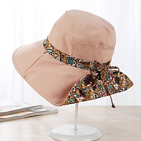 Women's Basic Cute Cotton Floppy Hat Sun Hat-Floral Color Block Spring Summer Wine Blushing Pink Navy Blue