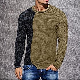 Men's Color Block Pullover Long Sleeve Sweater Cardigans Round Neck Black Khaki Green