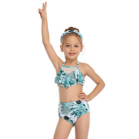 Kids Toddler Girls' Active Cute Tropical Leaf Floral Geometric Color Block Ruffle Print Sleeveless Swimwear Green