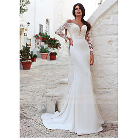 Mermaid / Trumpet Wedding Dresses Jewel Neck Sweep / Brush Train Lace Long Sleeve Country Illusion Sleeve with 2020 / Bell Sleeve
