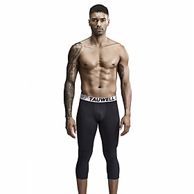 TAUWELL Men's Leggings Running Tights Running 3/4 Capri Pants Sports Winter 3/4 Tights Running Fitness Jogging Breathable Quick Dry Soft Solid Colored White Bl