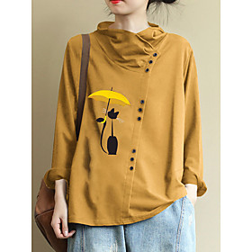 Women's Plus Size Blouse Shirt Cartoon Long Sleeve Round Neck Tops Loose Basic Top Yellow Wine Green
