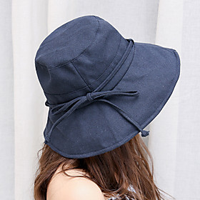 Women's Active Basic Cute Cotton Floppy Hat Sun Hat-Solid Colored Spring Summer Black Blushing Pink Yellow