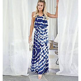 Women's A-Line Dress Sleeveless Print V Neck Silk Green Royal Blue S M L XL / Maxi