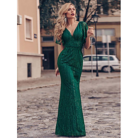 Mermaid / Trumpet Sparkle Green Engagement Formal Evening Dress V Neck Short Sleeve Floor Length Tulle with Sequin 2020