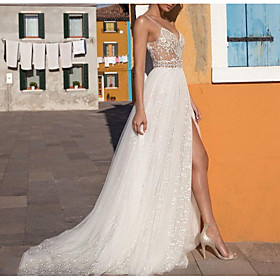 A-Line Wedding Dresses V Neck Floor Length Tulle Sleeveless Casual Boho Plus Size with Appliques Split Front 2020