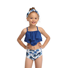 Kids Toddler Girls' Active Cute Tropical Leaf Floral Geometric Color Block Ruffle Print Sleeveless Swimwear Blue