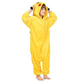 Niños Pijamas Kigurumi Pika Pika Animal Pijamas de una pieza Franela Vellón Amarillo azul / Amarillo / Azul Cosplay por Niños y niñas Ropa