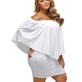 Women's Elegant Sheath Dress - Solid Colored Black White Purple S M L XL