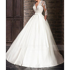 A-Line Wedding Dresses V Neck Floor Length Satin Half Sleeve Formal Plus Size Illusion Sleeve with Appliques 2020
