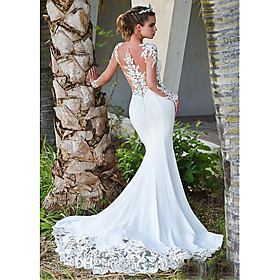 Mermaid / Trumpet Wedding Dresses Jewel Neck Court Train Lace Long Sleeve Formal Casual Vintage Illusion Sleeve with 2020