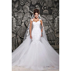 Mermaid / Trumpet Wedding Dresses Strapless Court Train Lace Spaghetti Strap Country Formal Casual with 2020