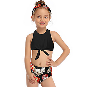 Kids Toddler Girls' Active Cute Tropical Leaf Floral Geometric Color Block Backless Print Sleeveless Swimwear Black