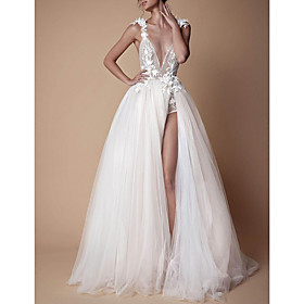 A-Line Wedding Dresses V Neck Sweep / Brush Train Lace Tulle Spaghetti Strap Formal Boho Plus Size with Draping Lace Insert Appliques 2020