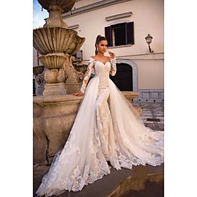 Ball Gown Mermaid / Trumpet Wedding Dresses Sweetheart Neckline Court Train Lace Tulle Lace Over Satin Long Sleeve Sexy Plus Size Modern Detachable with Appliq