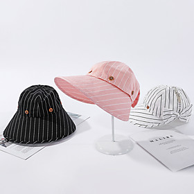 Women's Active Basic Cute Lace Floppy Hat Sun Hat-Striped Solid Colored Spring Summer Black White Blushing Pink