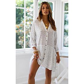 Women's A-Line Dress Long Sleeve Polka Dot Deep V White S M L XL