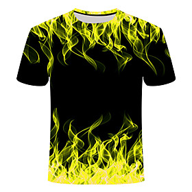 Men's 3D Graphic Print Slim T-shirt Daily Round Neck Red / Yellow / Green / Short Sleeve