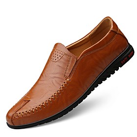 Men's Loafers  Slip-Ons Comfort Shoes Daily Cowhide Light Brown / Dark Brown / Black Summer / Fall