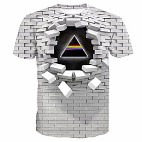 Men's 3D Graphic Print T-shirt Casual Round Neck White / Purple / Blushing Pink / Gold / Green / Summer / Short Sleeve