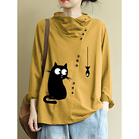 Women's Plus Size Blouse Shirt Animal Long Sleeve Round Neck Tops Loose Basic Top Yellow Wine Green