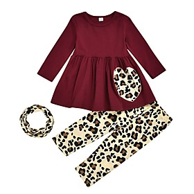 Kids Girls' Basic Leopard Long Sleeve Clothing Set Wine Fabric:Polyester; Sleeve Length:Long Sleeve; Gender:Girls'; Style:Basic; Kids Apparel:Clothing Set; Age Group:Kids; Pattern:Leopard; Front page:FF; Listing Date:02/28/2020; Bust:; Length [Bottom]:; Length [Top]:; Special selected products:COD