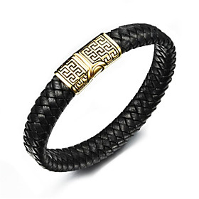 Men's Leather Bracelet Braided Flower Stylish Leather Bracelet Jewelry Gold / Silver For Anniversary Gift Festival / Titanium Steel