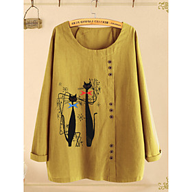 Women's Plus Size Blouse Shirt Geometric Long Sleeve Round Neck Tops Loose Cotton Basic Top Yellow Navy Blue