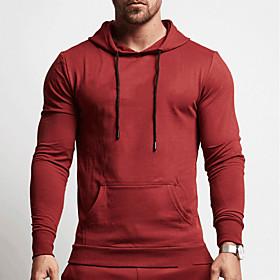 Men's Hoodie Sweatshirt Running Shirt Long Sleeve Breathable Quick Dry Soft Fitness Running Jogging Sportswear Solid Colored Hoodie Top Hoodie Black Red Grey G