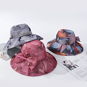 Women's Active Basic Cute Cotton Floppy Hat Sun Hat-Color Block Spring Summer Purple Orange Yellow