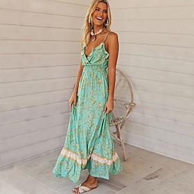 Women's 2020 Maxi A Line Dress - Floral Strap Spring  Summer Green S M L XL