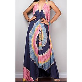 Women's 2020 Maxi A Line Dress - Floral Print Deep V Spring  Summer Blushing Pink Blue M L XL