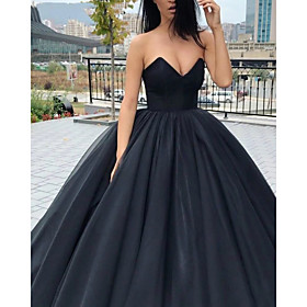 Ball Gown Wedding Dresses Strapless V Neck Floor Length Tulle Polyester Strapless Sexy Plus Size with 2020