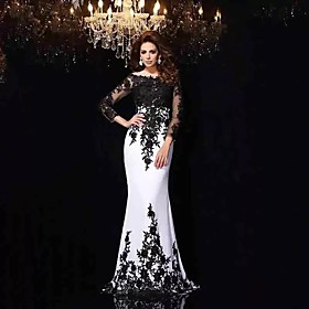 Mermaid / Trumpet Wedding Dresses Bateau Neck Sweep / Brush Train Lace Tulle Lace Over Satin Long Sleeve Sexy Black Illusion Sleeve with Appliques 2020