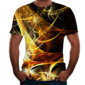 Men's Plus Size 3D Graphic T-shirt Basic Daily Weekend Round Neck Gold / Short Sleeve