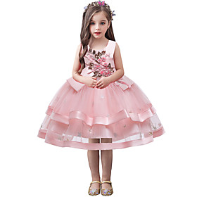 Kids Toddler Girls' Flower Sweet Solid Colored Sequins Embroidered Sleeveless Knee-length Dress Blushing Pink