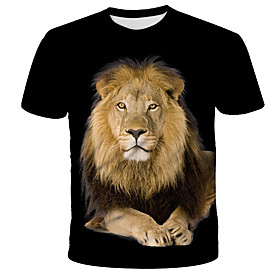 Men's 3D Graphic Lion Print T-shirt Street chic Exaggerated Daily Holiday Round Neck Rainbow / Short Sleeve / Animal