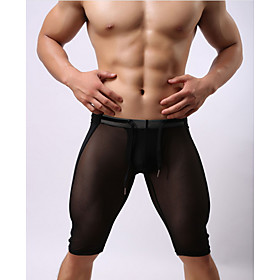 Compression Gym Men's Normal Polyester Sexy Long Johns Solid Colored Mid Waist