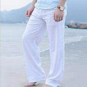 Men's Basic Linen Chinos Pants Solid Colored White Black Army Green US34 / UK34 / EU42 US36 / UK36 / EU44 US40 / UK40 / EU48