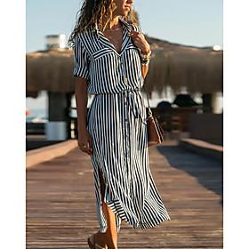Women's Shift Dress - Long Sleeve Striped Spring  Summer Shirt Collar Casual Vacation Causal Holiday 2020 Black Orange S M L XL XXL