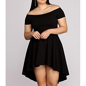 A-Line Plus Size Black Homecoming Cocktail Party Dress Off Shoulder Sleeveless Asymmetrical Spandex with Pleats 2020